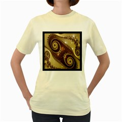 Space Fractal Abstraction Digital Computer Graphic Women s Yellow T Shirt