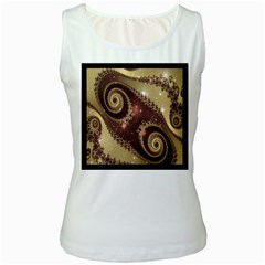 Space Fractal Abstraction Digital Computer Graphic Women s White Tank Top