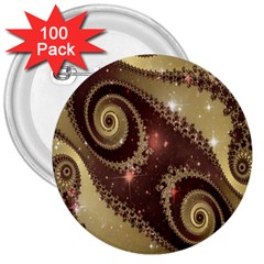 Space Fractal Abstraction Digital Computer Graphic 3  Buttons (100 Pack)