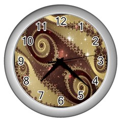 Space Fractal Abstraction Digital Computer Graphic Wall Clocks (silver)