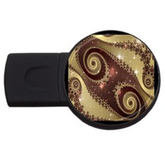 Space Fractal Abstraction Digital Computer Graphic USB Flash Drive Round (2 GB)