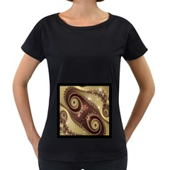 Space Fractal Abstraction Digital Computer Graphic Women s Loose Fit T Shirt (black)