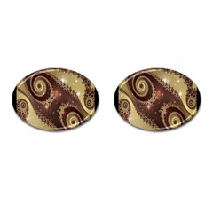 Space Fractal Abstraction Digital Computer Graphic Cufflinks (oval)