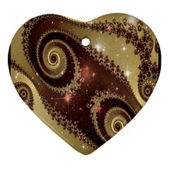 Space Fractal Abstraction Digital Computer Graphic Heart Ornament (two Sides)
