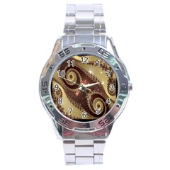 Space Fractal Abstraction Digital Computer Graphic Stainless Steel Analogue Watch