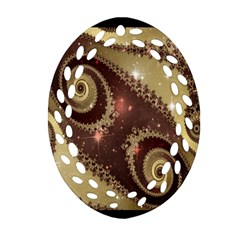 Space Fractal Abstraction Digital Computer Graphic Oval Filigree Ornament (Two Sides)