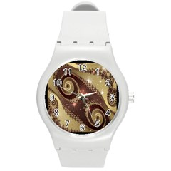 Space Fractal Abstraction Digital Computer Graphic Round Plastic Sport Watch (M)