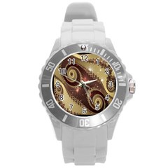 Space Fractal Abstraction Digital Computer Graphic Round Plastic Sport Watch (l)