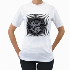 Fractal Background Black Manga Rays Women s T Shirt (white) (two Sided)