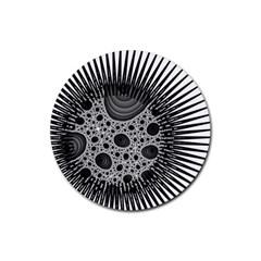 Fractal Background Black Manga Rays Rubber Coaster (Round)