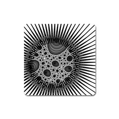 Fractal Background Black Manga Rays Square Magnet