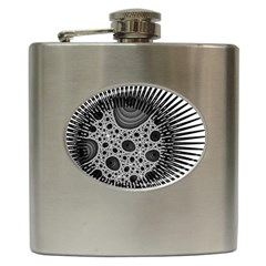 Fractal Background Black Manga Rays Hip Flask (6 oz)