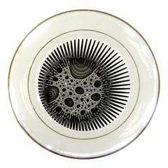 Fractal Background Black Manga Rays Porcelain Plates