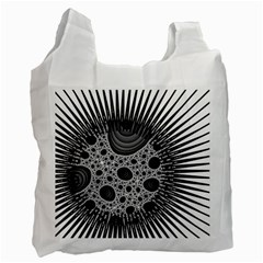 Fractal Background Black Manga Rays Recycle Bag (two Side)
