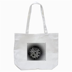 Fractal Background Black Manga Rays Tote Bag (White)