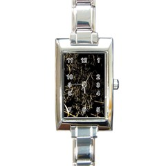 Golden Bows And Arrows On Black Rectangle Italian Charm Watch