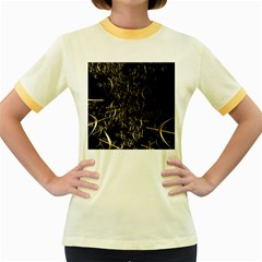 Golden Bows And Arrows On Black Women s Fitted Ringer T Shirts