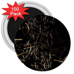 Golden Bows And Arrows On Black 3  Magnets (100 Pack)