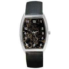 Golden Bows And Arrows On Black Barrel Style Metal Watch