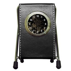 Golden Bows And Arrows On Black Pen Holder Desk Clocks