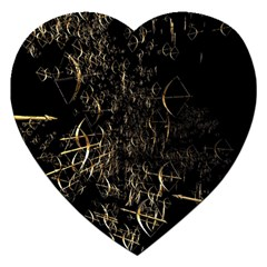 Golden Bows And Arrows On Black Jigsaw Puzzle (heart)