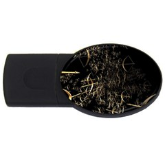 Golden Bows And Arrows On Black USB Flash Drive Oval (4 GB)