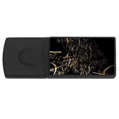Golden Bows And Arrows On Black Usb Flash Drive Rectangular (4 Gb)