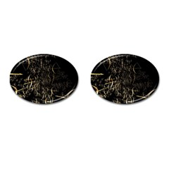 Golden Bows And Arrows On Black Cufflinks (Oval)