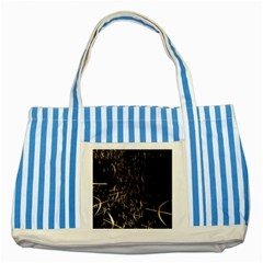 Golden Bows And Arrows On Black Striped Blue Tote Bag