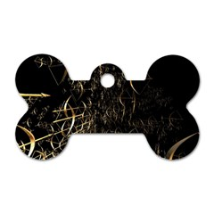 Golden Bows And Arrows On Black Dog Tag Bone (two Sides)
