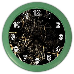 Golden Bows And Arrows On Black Color Wall Clocks