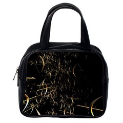 Golden Bows And Arrows On Black Classic Handbags (one Side)