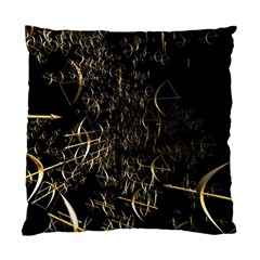 Golden Bows And Arrows On Black Standard Cushion Case (one Side)