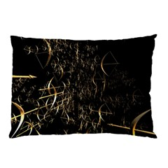 Golden Bows And Arrows On Black Pillow Case (two Sides)