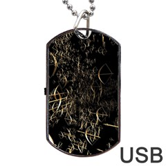 Golden Bows And Arrows On Black Dog Tag USB Flash (One Side)