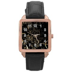 Golden Bows And Arrows On Black Rose Gold Leather Watch