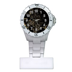 Golden Bows And Arrows On Black Plastic Nurses Watch