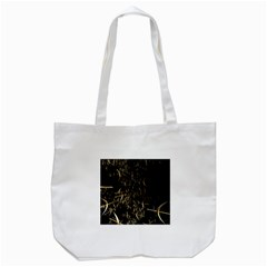 Golden Bows And Arrows On Black Tote Bag (White)