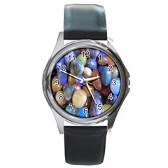 Rock Tumbler Used To Polish A Collection Of Small Colorful Pebbles Round Metal Watch