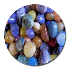 Rock Tumbler Used To Polish A Collection Of Small Colorful Pebbles Round Mousepads