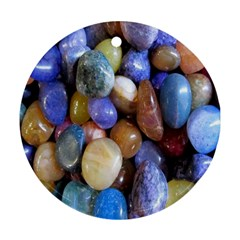 Rock Tumbler Used To Polish A Collection Of Small Colorful Pebbles Ornament (round)