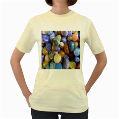 Rock Tumbler Used To Polish A Collection Of Small Colorful Pebbles Women s Yellow T Shirt