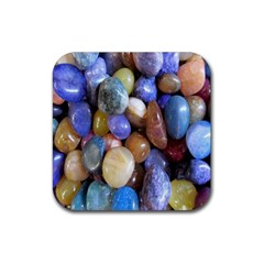 Rock Tumbler Used To Polish A Collection Of Small Colorful Pebbles Rubber Coaster (square)