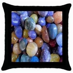 Rock Tumbler Used To Polish A Collection Of Small Colorful Pebbles Throw Pillow Case (Black)