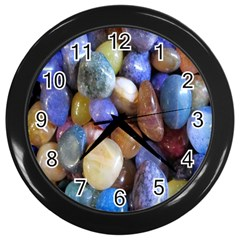 Rock Tumbler Used To Polish A Collection Of Small Colorful Pebbles Wall Clocks (black)