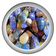 Rock Tumbler Used To Polish A Collection Of Small Colorful Pebbles Wall Clocks (silver)