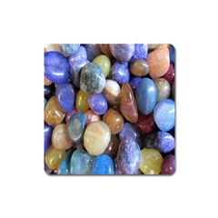 Rock Tumbler Used To Polish A Collection Of Small Colorful Pebbles Square Magnet