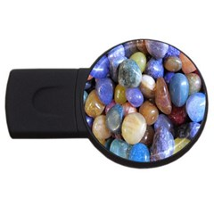 Rock Tumbler Used To Polish A Collection Of Small Colorful Pebbles USB Flash Drive Round (1 GB)
