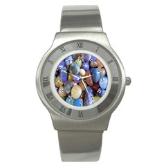 Rock Tumbler Used To Polish A Collection Of Small Colorful Pebbles Stainless Steel Watch
