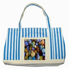Rock Tumbler Used To Polish A Collection Of Small Colorful Pebbles Striped Blue Tote Bag